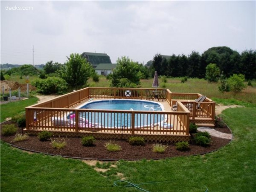 Above Ground Pools With Decks Installed | Semi Inground Pool Ideas | Inground Above Ground Swimming Pools