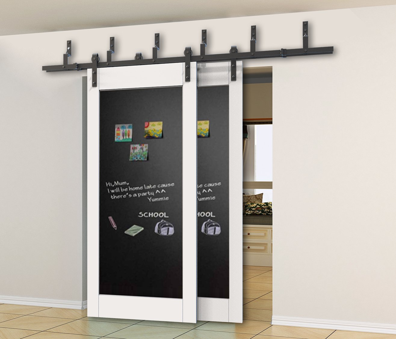 Barn Door Slider Kit | Steel Sliding Door Hardware | Bypass Barn Doors