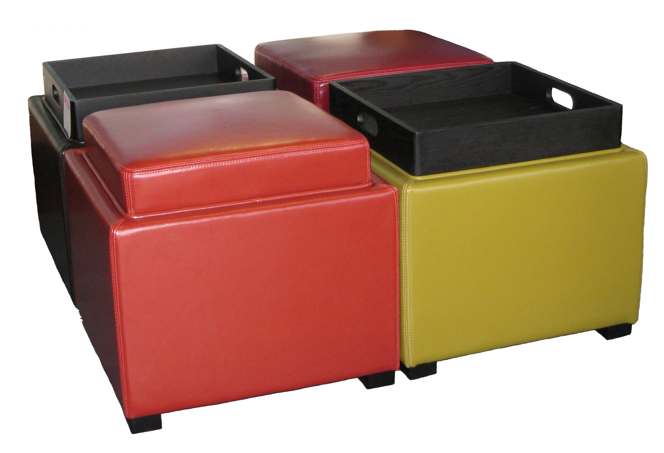 Black Cube Ottoman | Storage Cube Ottoman | Small Footstool with Storage