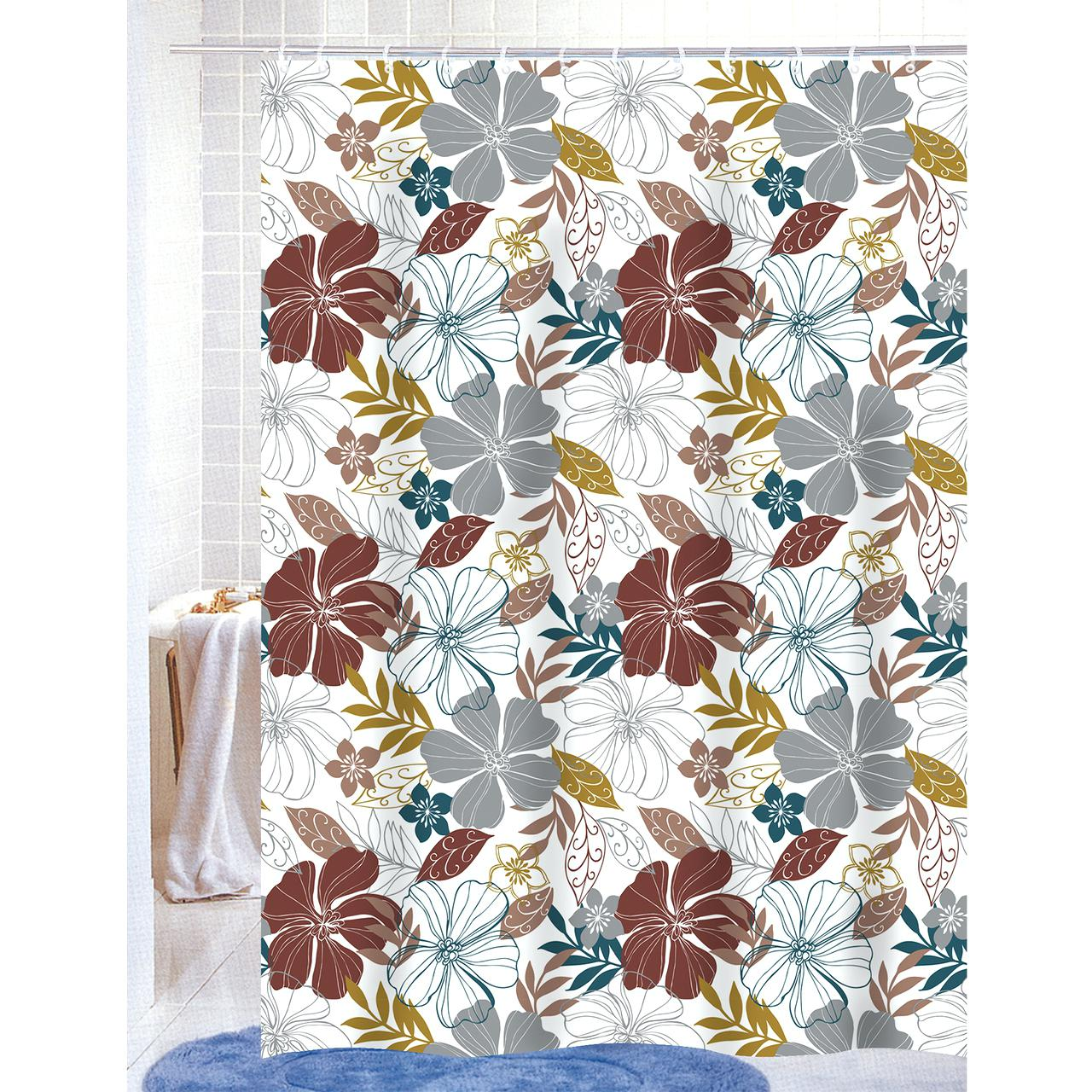 Black Floral Shower Curtain | Cute Cheap Shower Curtains | Floral Shower Curtain