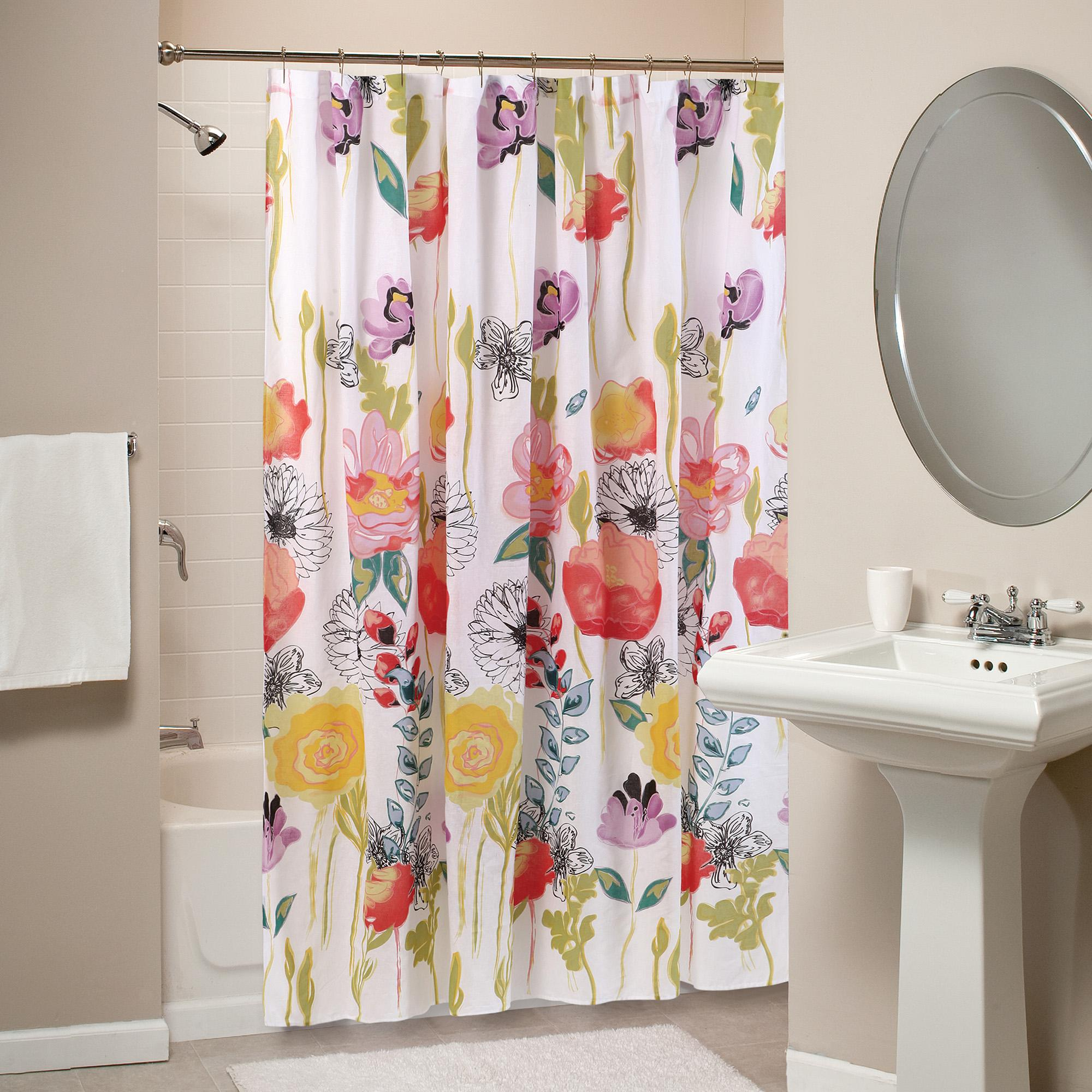 Blue Shower Curtain | Floral Print Shower Curtain | Floral Shower Curtain