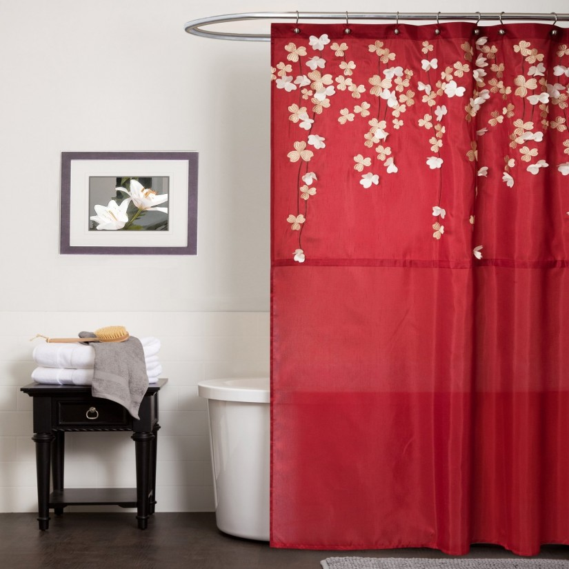 Botanical Shower Curtain | Floral Shower Curtains Fabric | Floral Shower Curtain