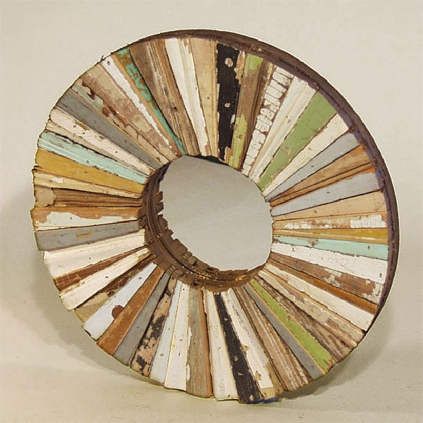 Circle Mirror Wall Decor | Reclaimed Wood Round Mirror | Reclaimed Wood Mirror