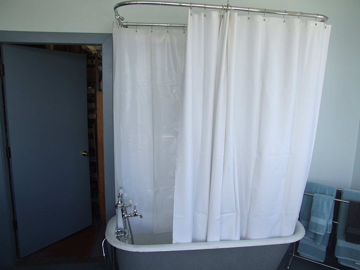 Curtain: Shower Curtain Freestanding Bath | Clawfoot Tub Shower ...