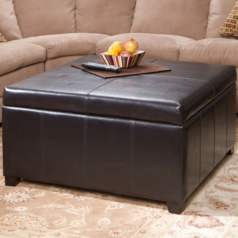 Coffee Table With 4 Storage Ottomans | Square Leather Coffee Table | Large Ottoman Coffee Table