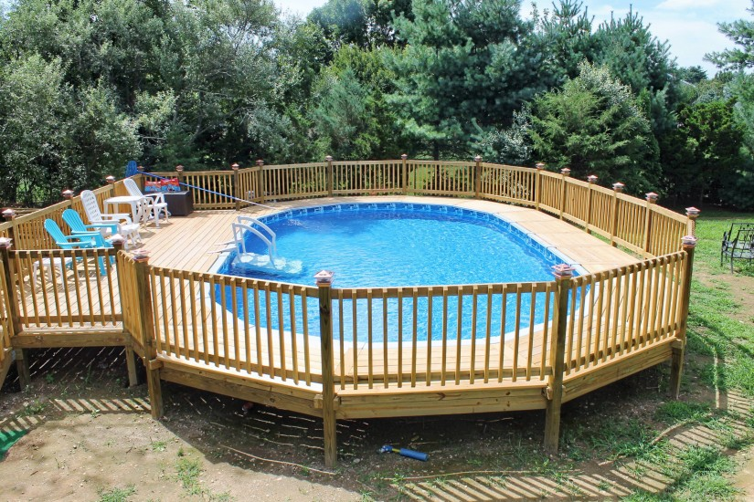 Cost Of Above Ground Pool With Installation | Above Ground Swimming Pools Installation | Semi Inground Pool Ideas