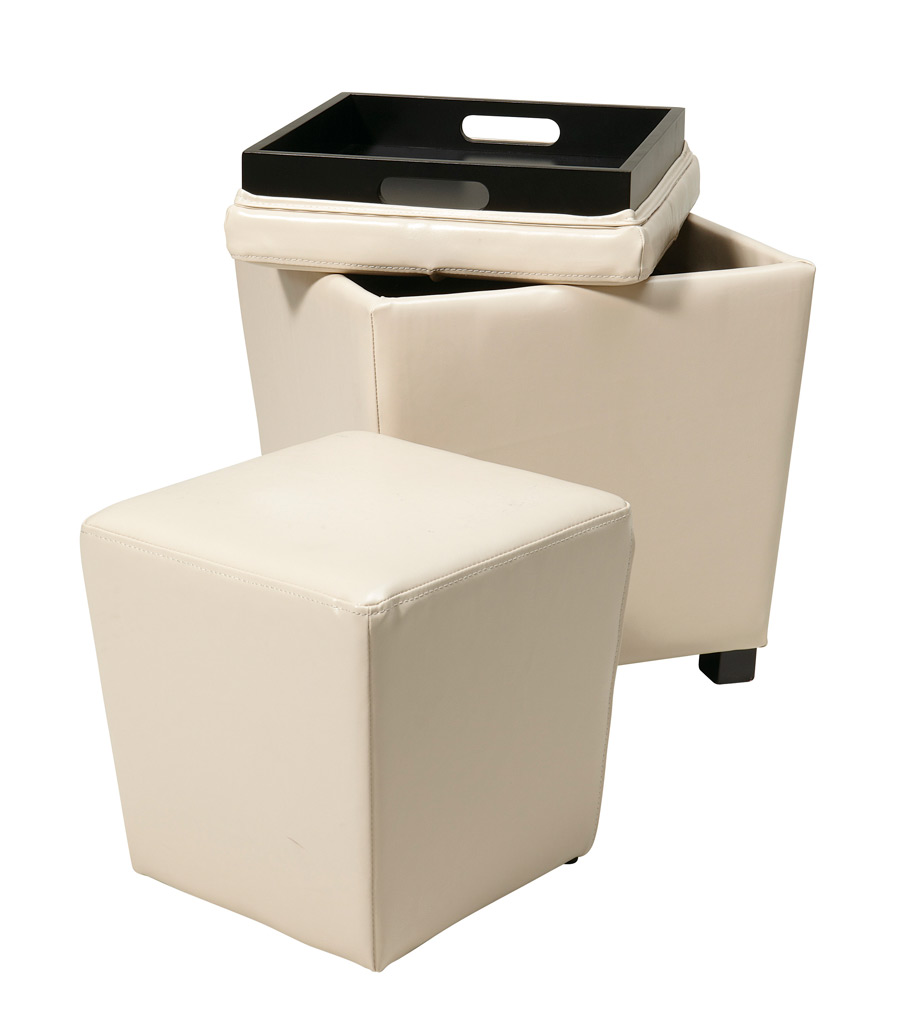 Cube Leather Ottoman | Storage Cube Ottoman | Upholstered Cube Ottoman