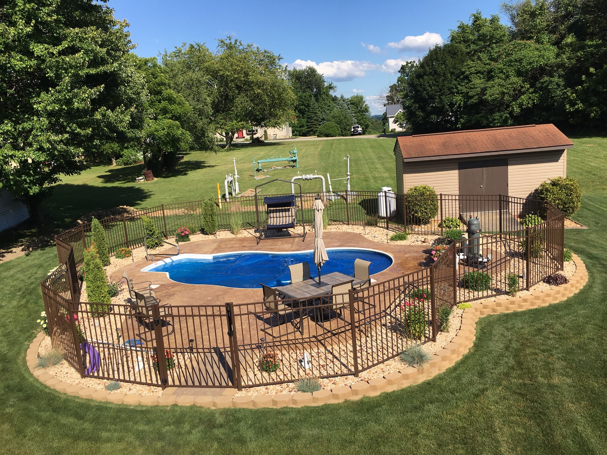 Ideas decks for above ground pools semi inground pools for Best in ground pool