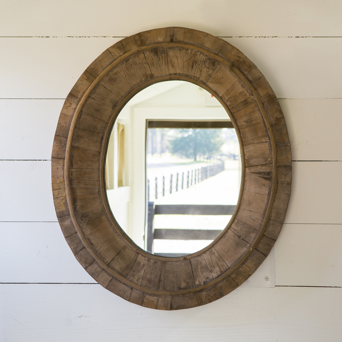 Distressed Oval Mirror | Wrought Iron Wall Mirror | Reclaimed Wood Mirror