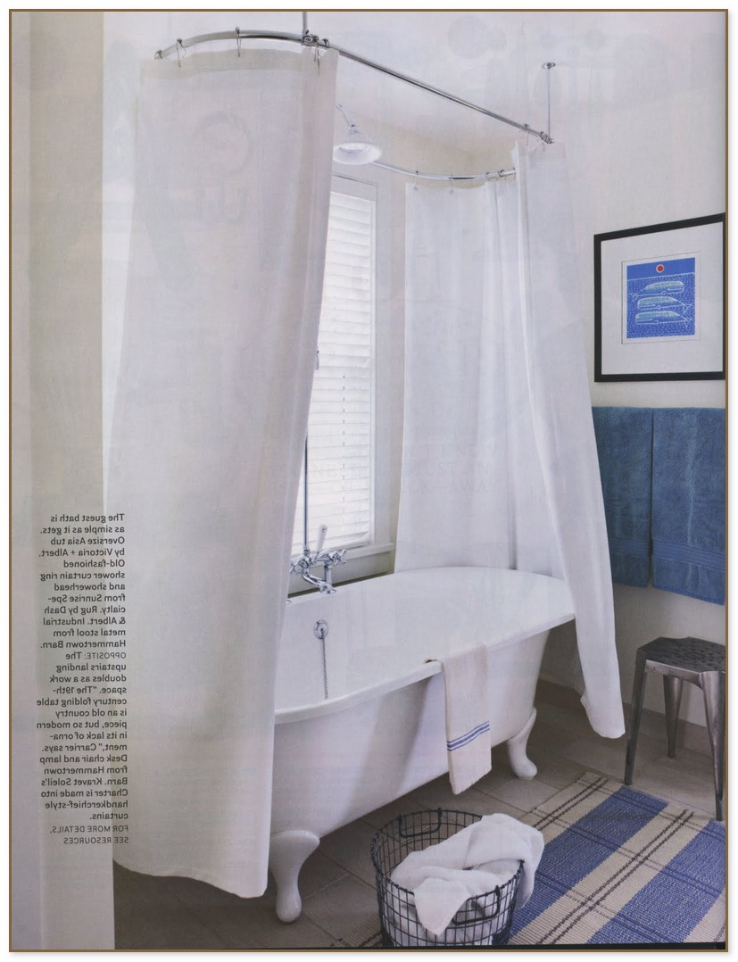 Extra Wide Shower Liner | Clawfoot Tub Shower Curtain | Shower Curtain Rod for Clawfoot Bathtub
