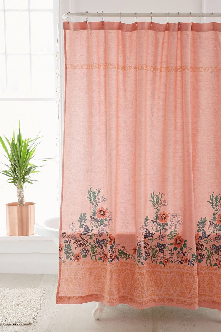 Floral Shower Curtain | Coral Shower Curtain | Floral Shower Curtain Hooks