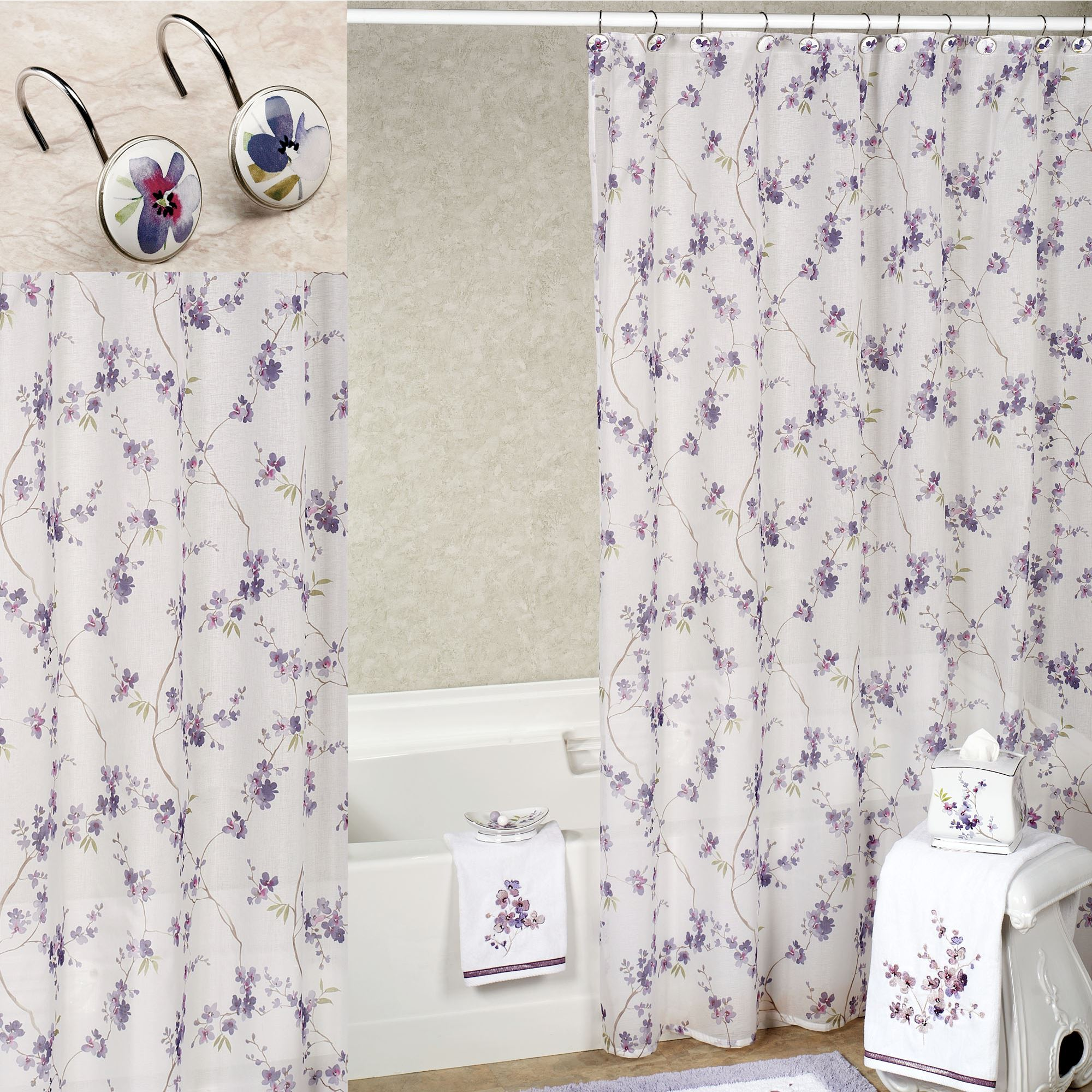 Floral Shower Curtain | Coral Shower Curtain | Indian Shower Curtains