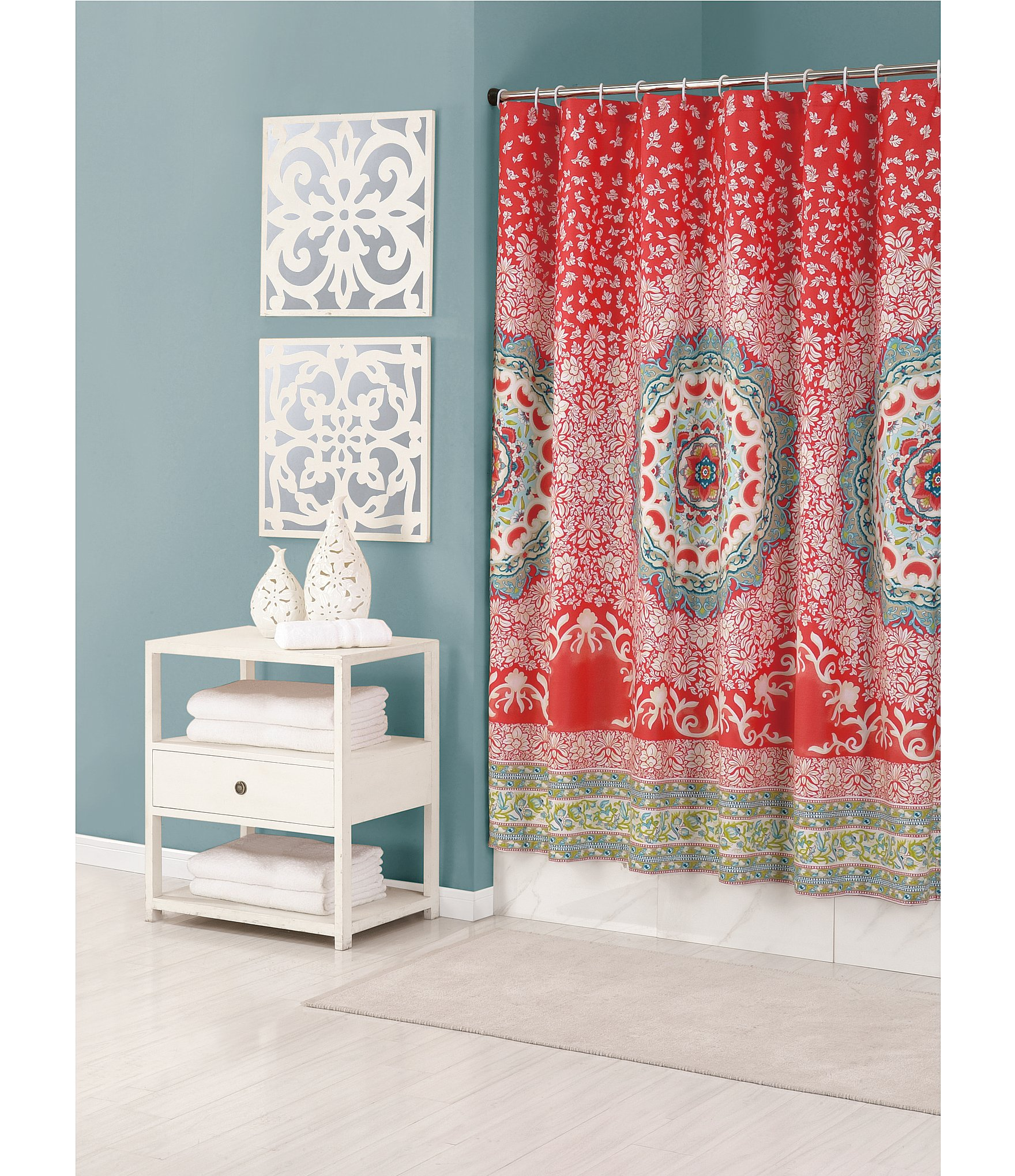 Beautiful Bathroom Decor Ideas with Floral Shower Curtain: Floral Shower Curtain | Modern Shower Curtains | Americana Shower Curtains