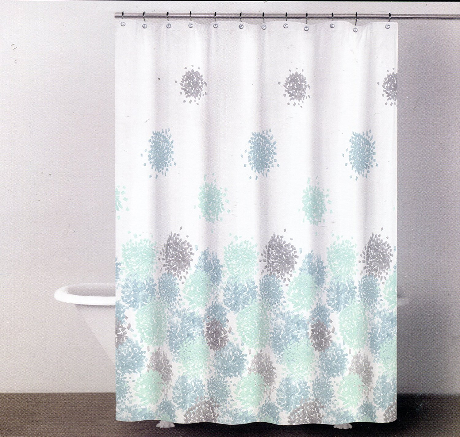 Floral Shower Curtain | Orange Brown Shower Curtain | Mint Shower Curtain