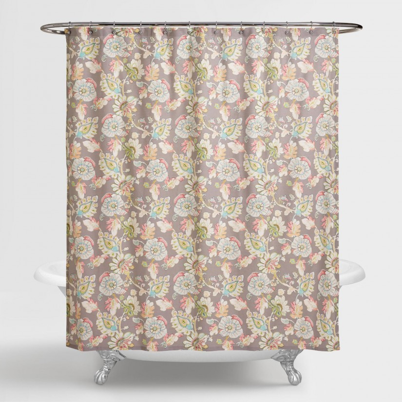 Floral Shower Curtain | Tapestry Shower Curtain | Orange Shower Curtain