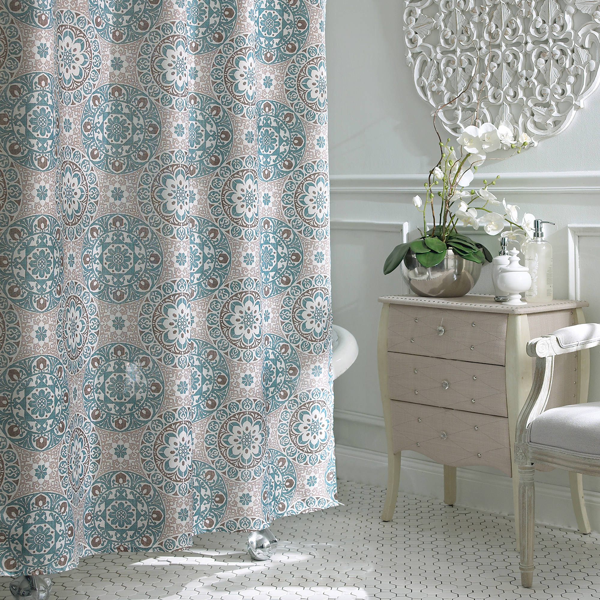 Floral Shower Curtains | Floral Shower Curtain | Blue and Gold Shower Curtain