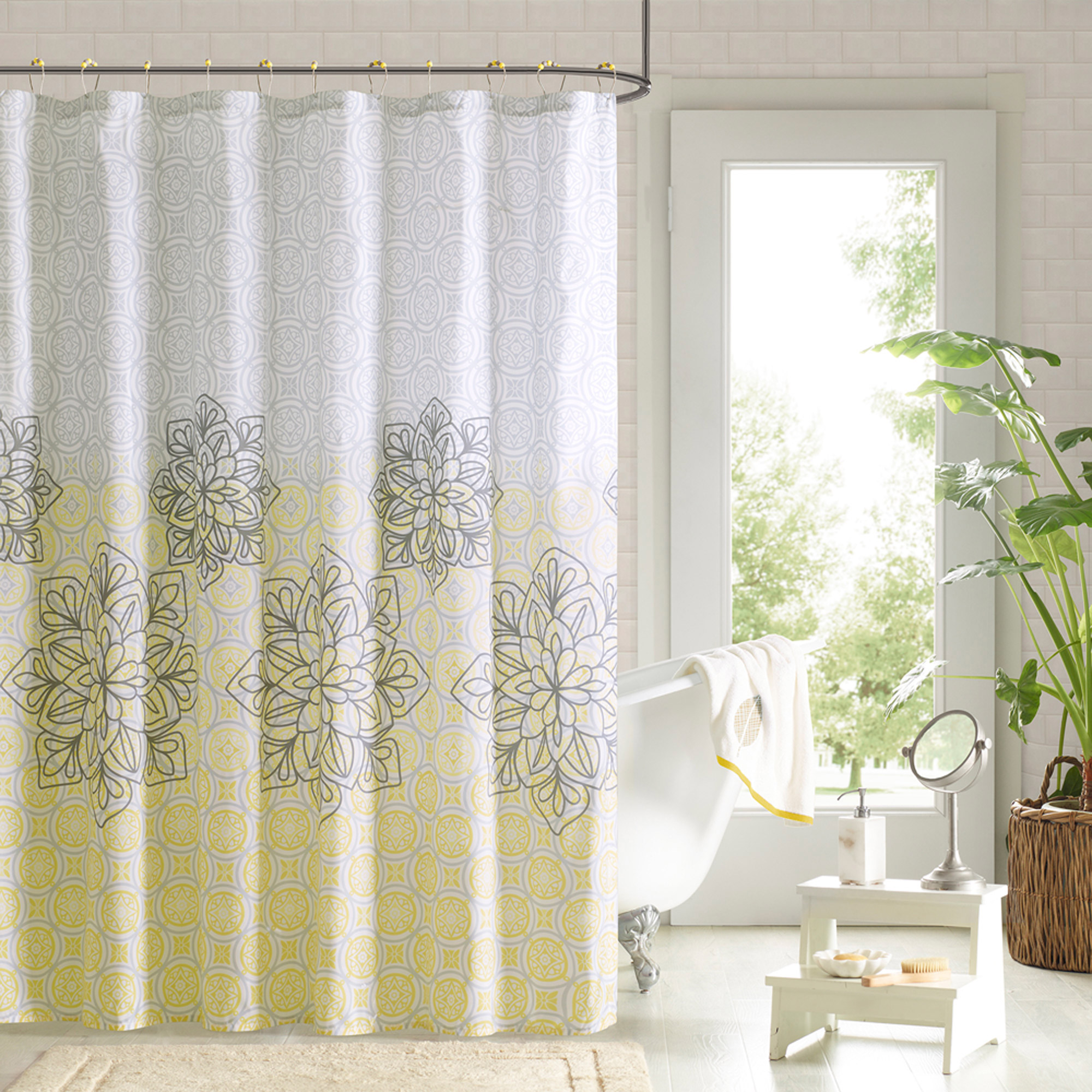 Flowers Shower Curtain | Blue and Gold Shower Curtain | Floral Shower Curtain