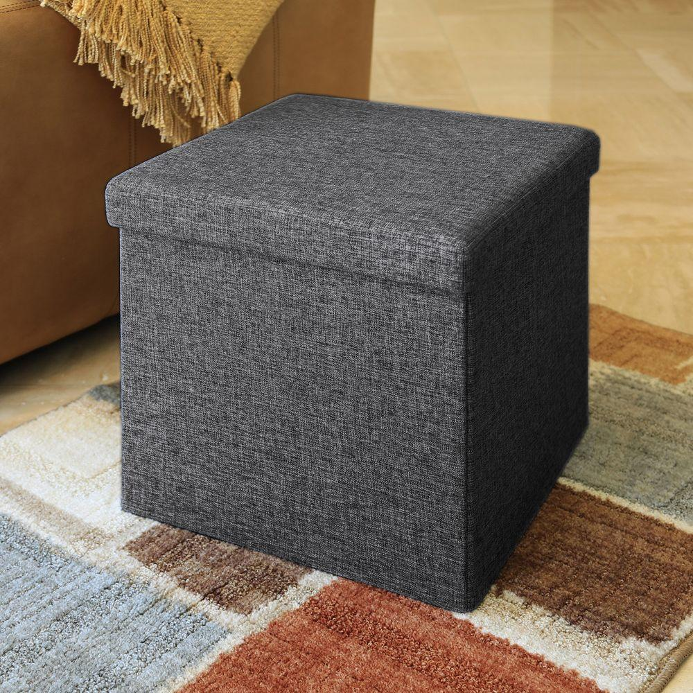Foot Stool with Storage | Storage Cube Ottoman | Upholstered Storage Cube