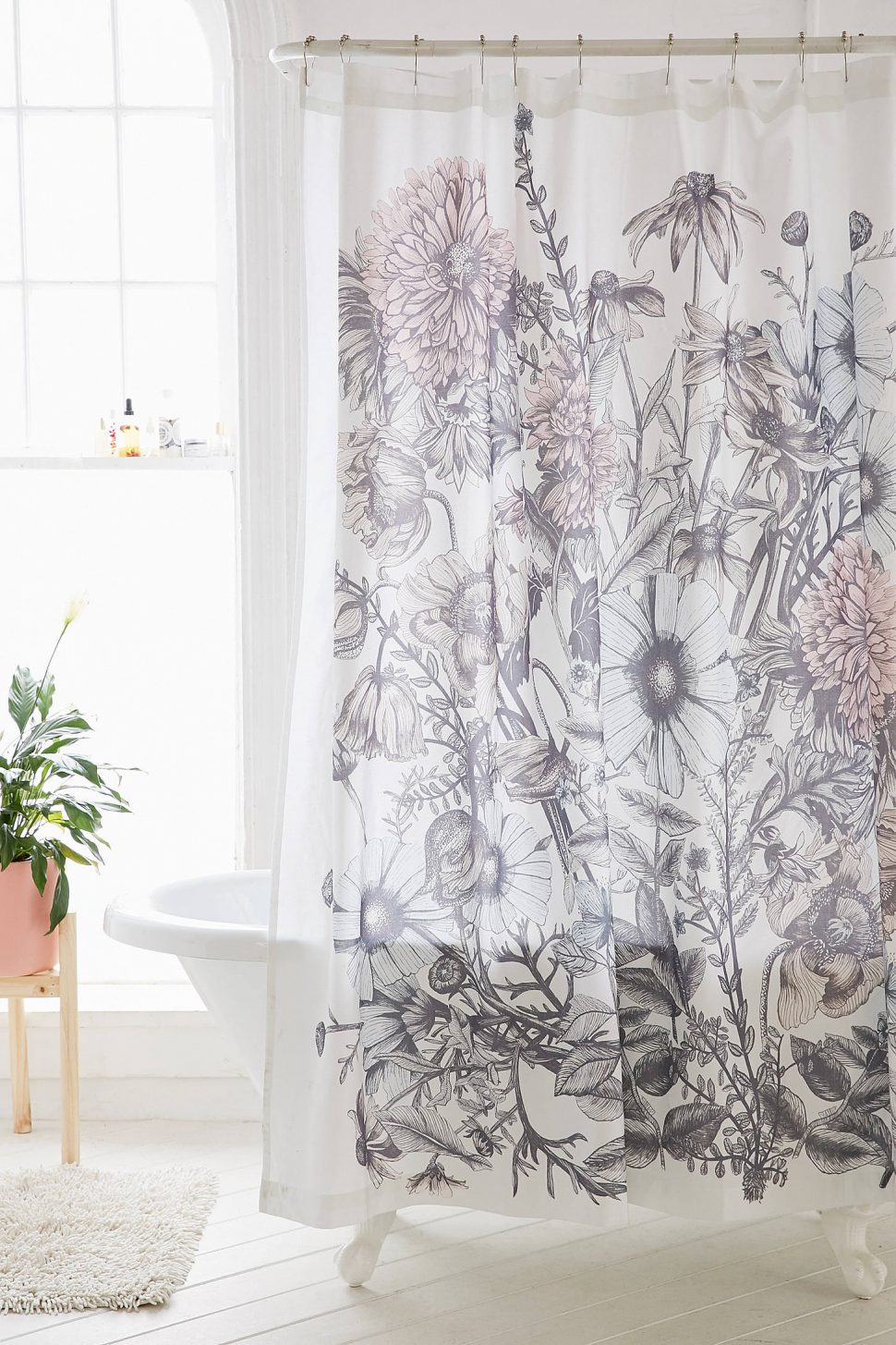 Ivory Shower Curtains | Blue and Orange Shower Curtain | Floral Shower Curtain