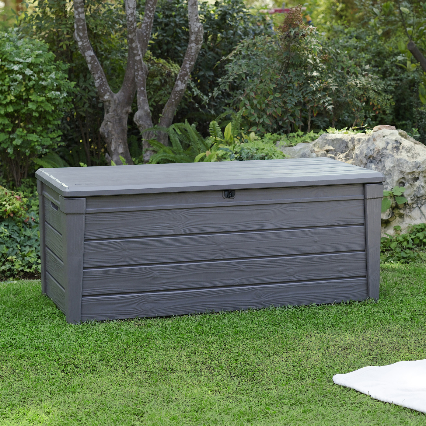 Keter 150 Gallon Deck Box | Extra Large Deck Box 150 Gallon | Outdoor Plastic Storage Containers
