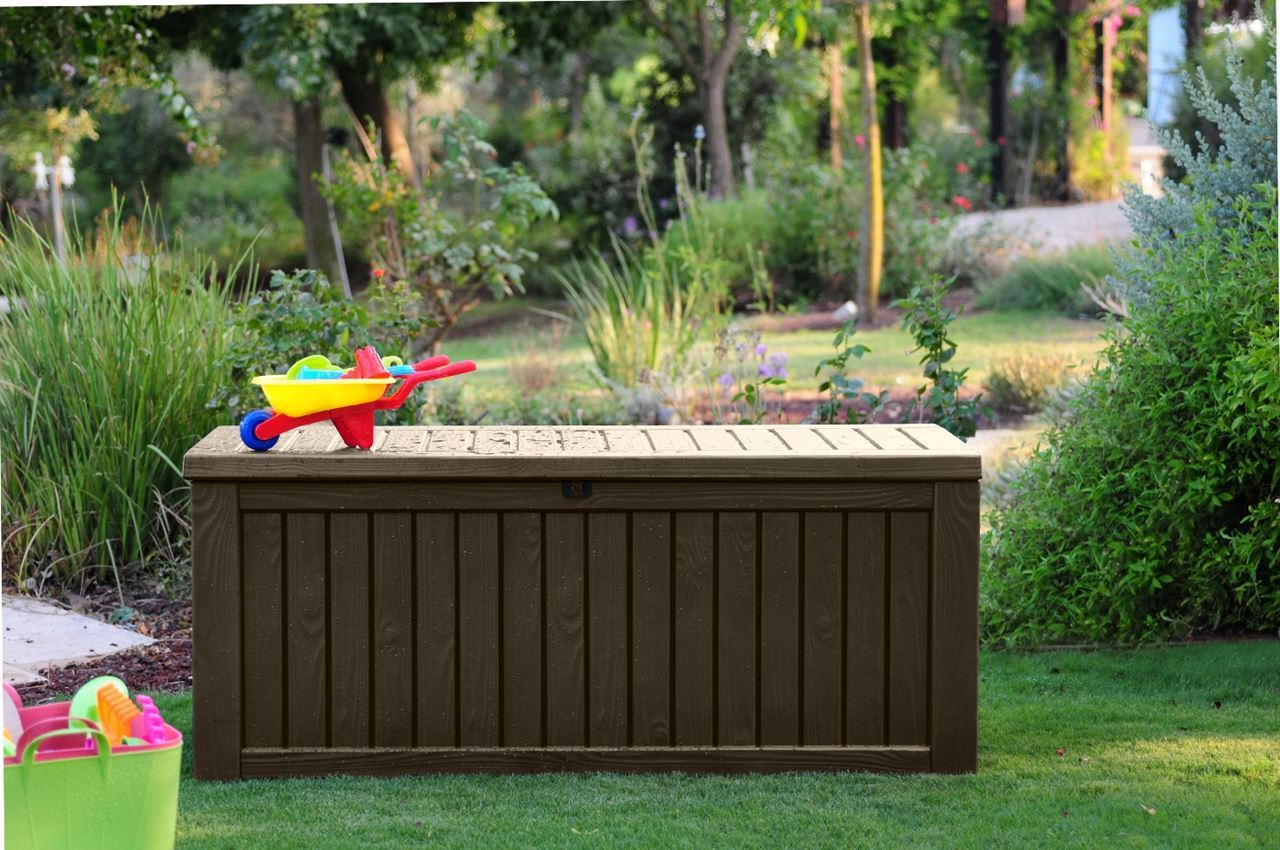 Keter Rockwood 150 Gal Deck Box | Watertight Deck Box | Keter 150 Gallon Deck Box