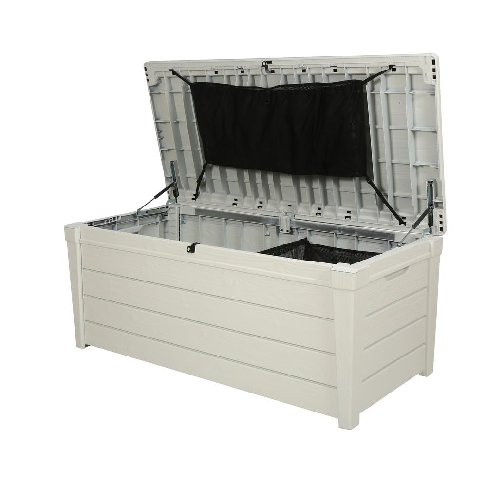 Keter Rockwood 150 Gallon Deck Box | Keter 150 Gallon Deck Box | Costco Outdoor Storage Bench