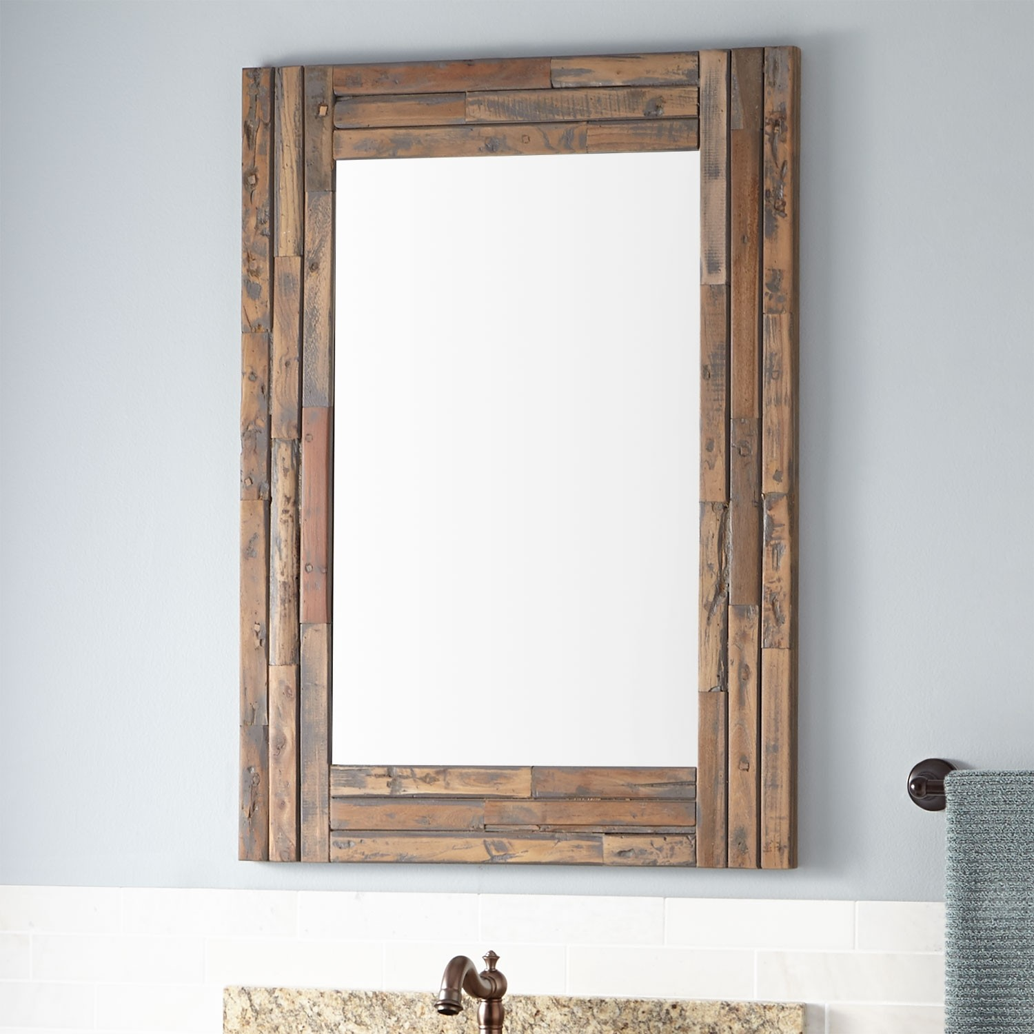 Large Distressed Wood Mirror | Oak Framed Wall Mirror | Reclaimed Wood Mirror
