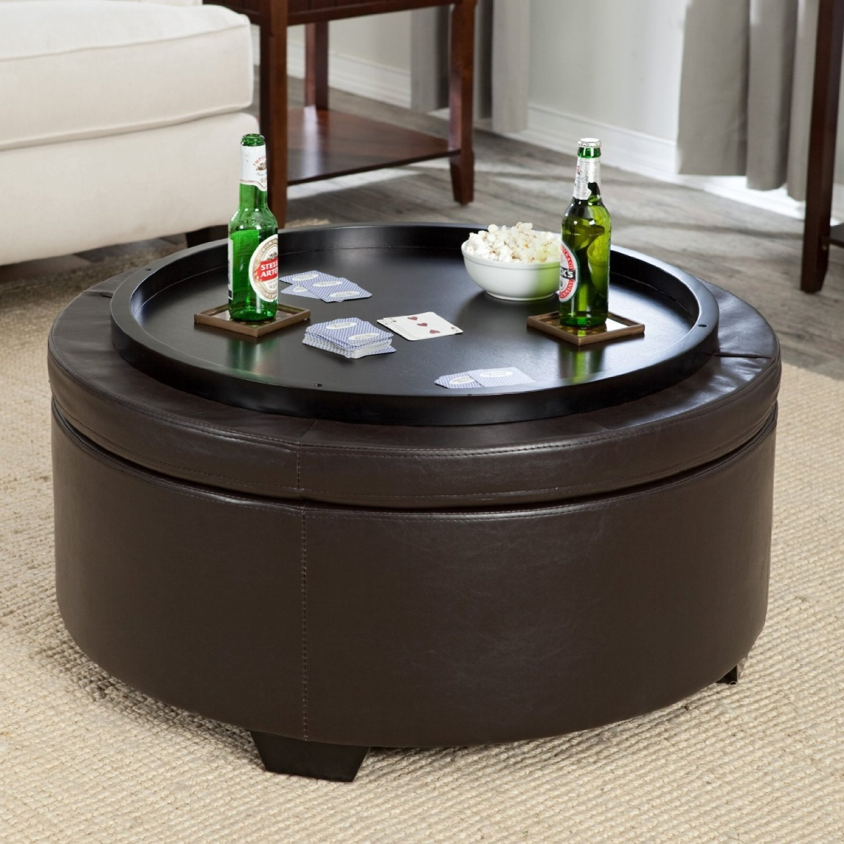 Large Ottoman Coffee Table | Cheap Round Ottomans for Sale | Ottoman with Stools Underneath