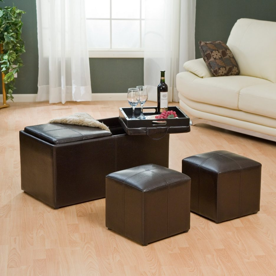 Large Ottoman Coffee Table | Coffee Table with 4 Storage Ottomans | Round Upholstered Ottoman Coffee Table