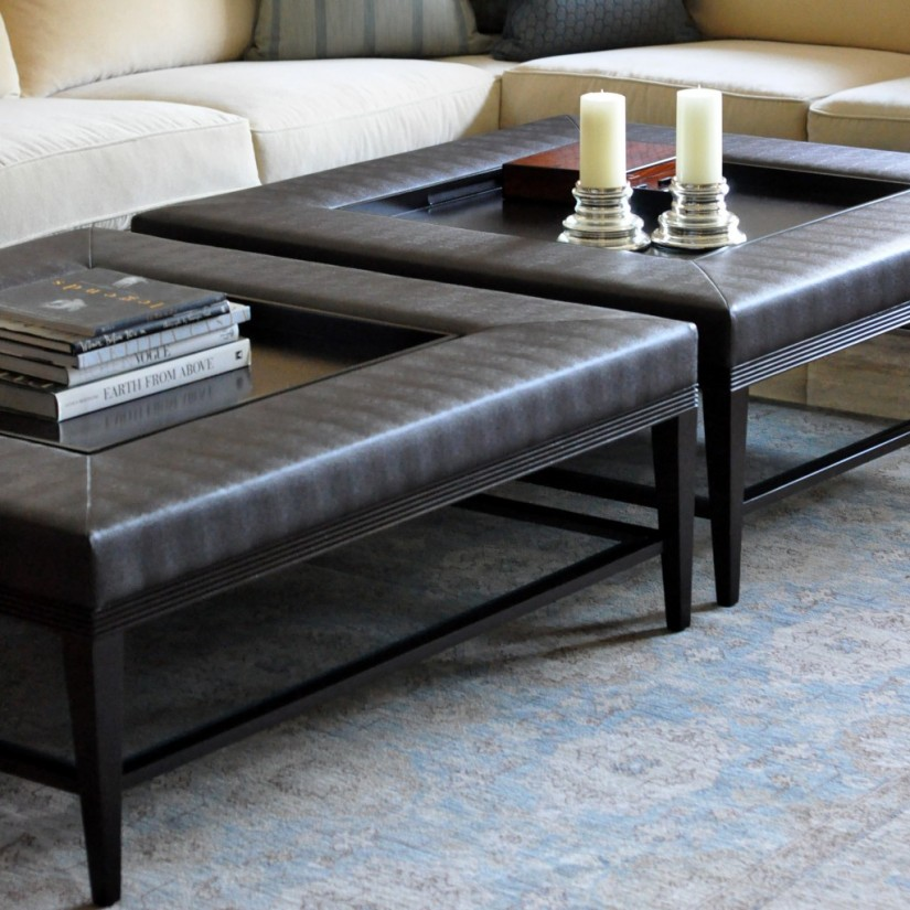 Large Ottoman Coffee Table | Coffee Tables Ottomans | Coffee Table With 4 Storage Ottomans