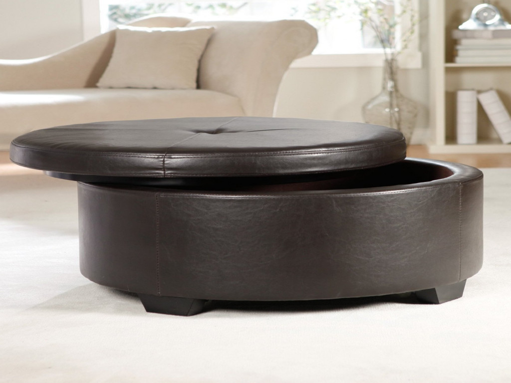 Large Ottoman Coffee Table | Large Round Leather Ottoman Coffee Table | Coffee Table With Seating Cubes