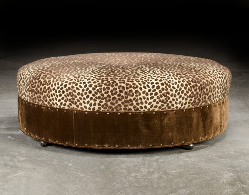 Large Ottoman Coffee Table | Oversized Tufted Ottoman | Round Coffee Table Ottoman