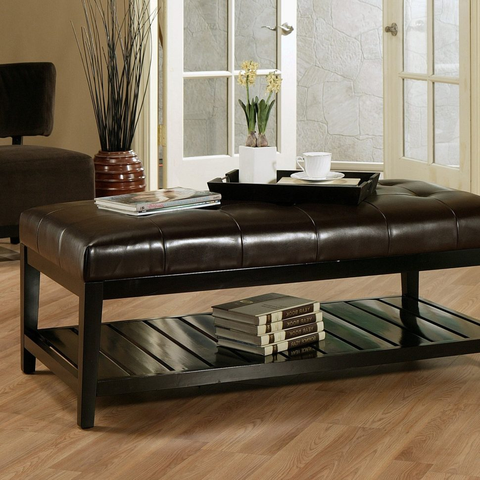 Large Ottoman Coffee Table | Round Ottoman Coffee Table with Storage | Round Table Ottoman