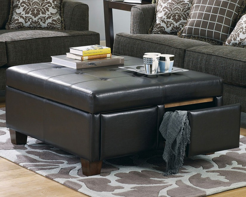 Large Ottoman Coffee Table | Square Leather Coffee Table | Large Leather Ottoman Coffee Table