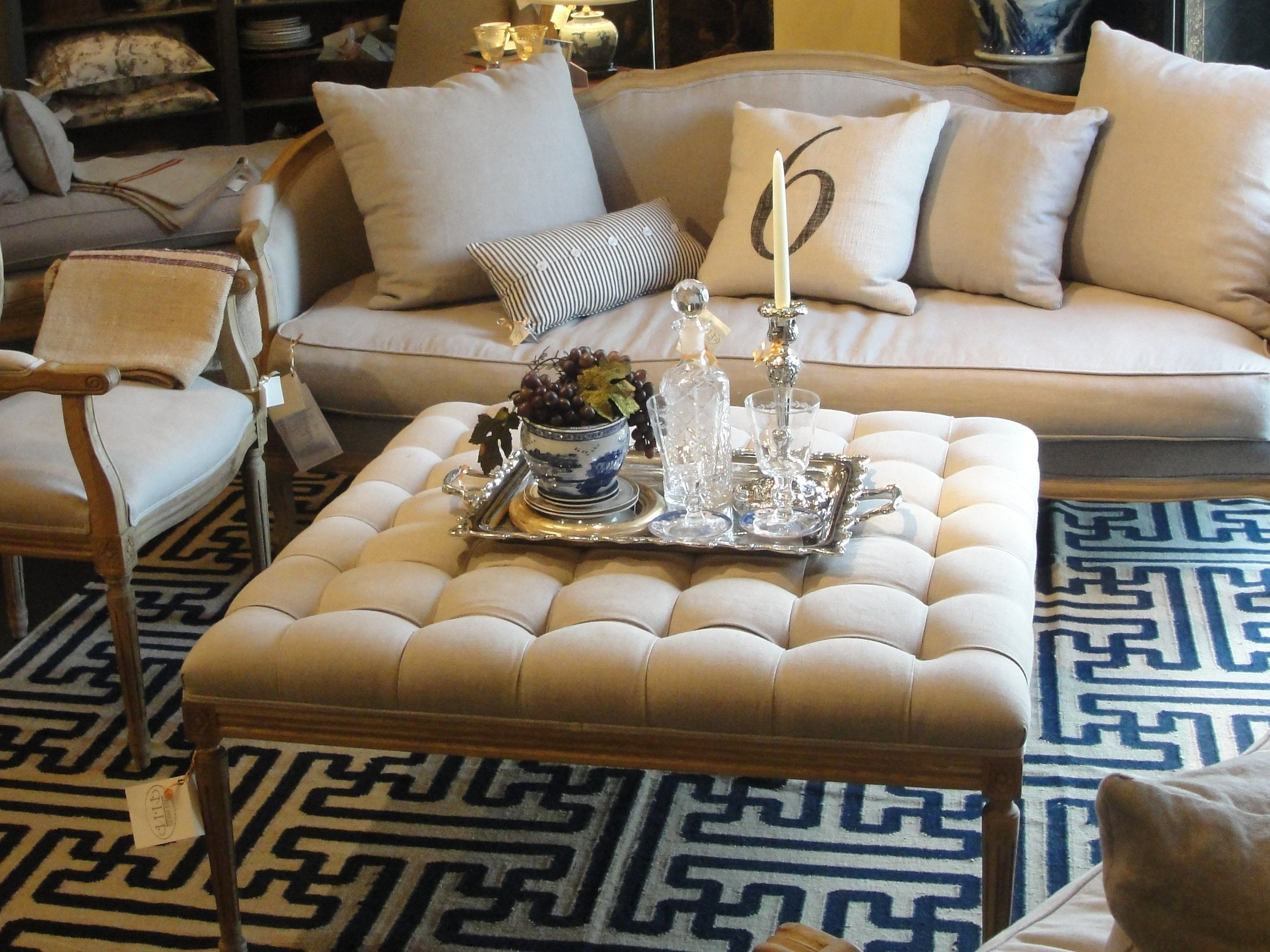 Large Ottoman Coffee Table | Square Ottomans Coffee Tables | Tan Leather Ottoman Coffee Table