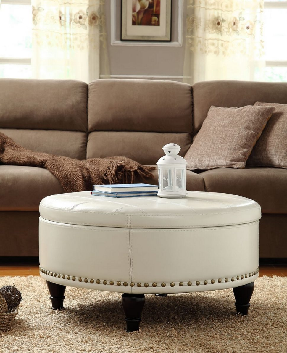 Large Ottomans with Storage | Large Ottoman Coffee Table | Circle Storage Ottoman