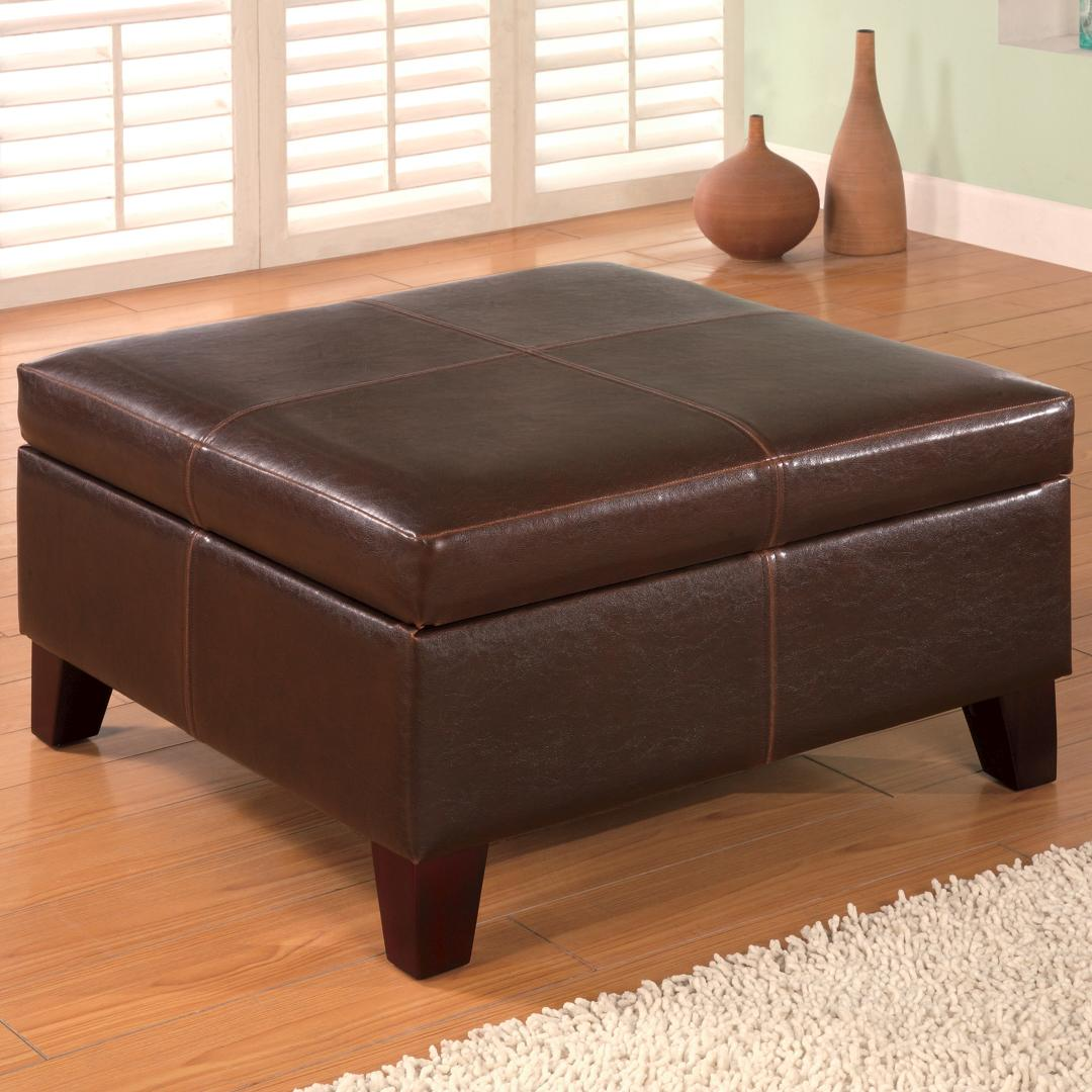 Large Round Ottoman Coffee Table | Leather Round Ottoman Coffee Table | Large Ottoman Coffee Table