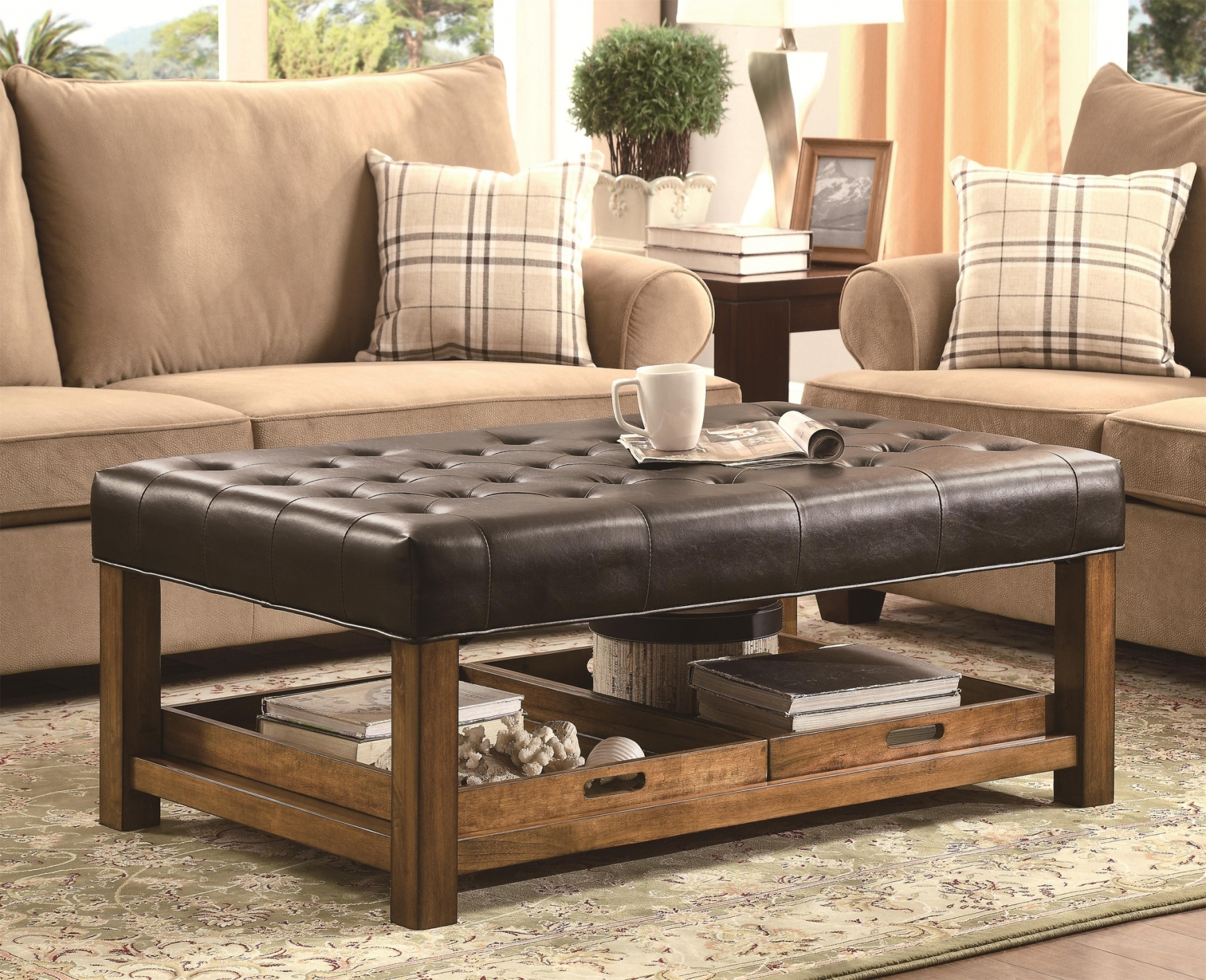 Large Tufted Leather Ottoman | Large Ottoman Coffee Table | Footstool Coffee Table Storage