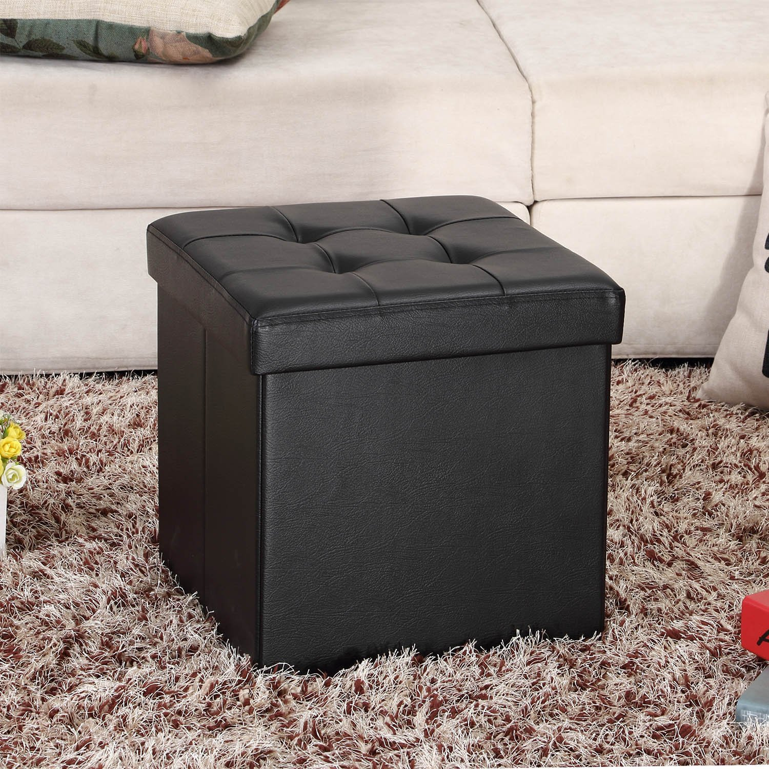 Long Ottoman with Storage | Leather Ottoman Cube | Storage Cube Ottoman