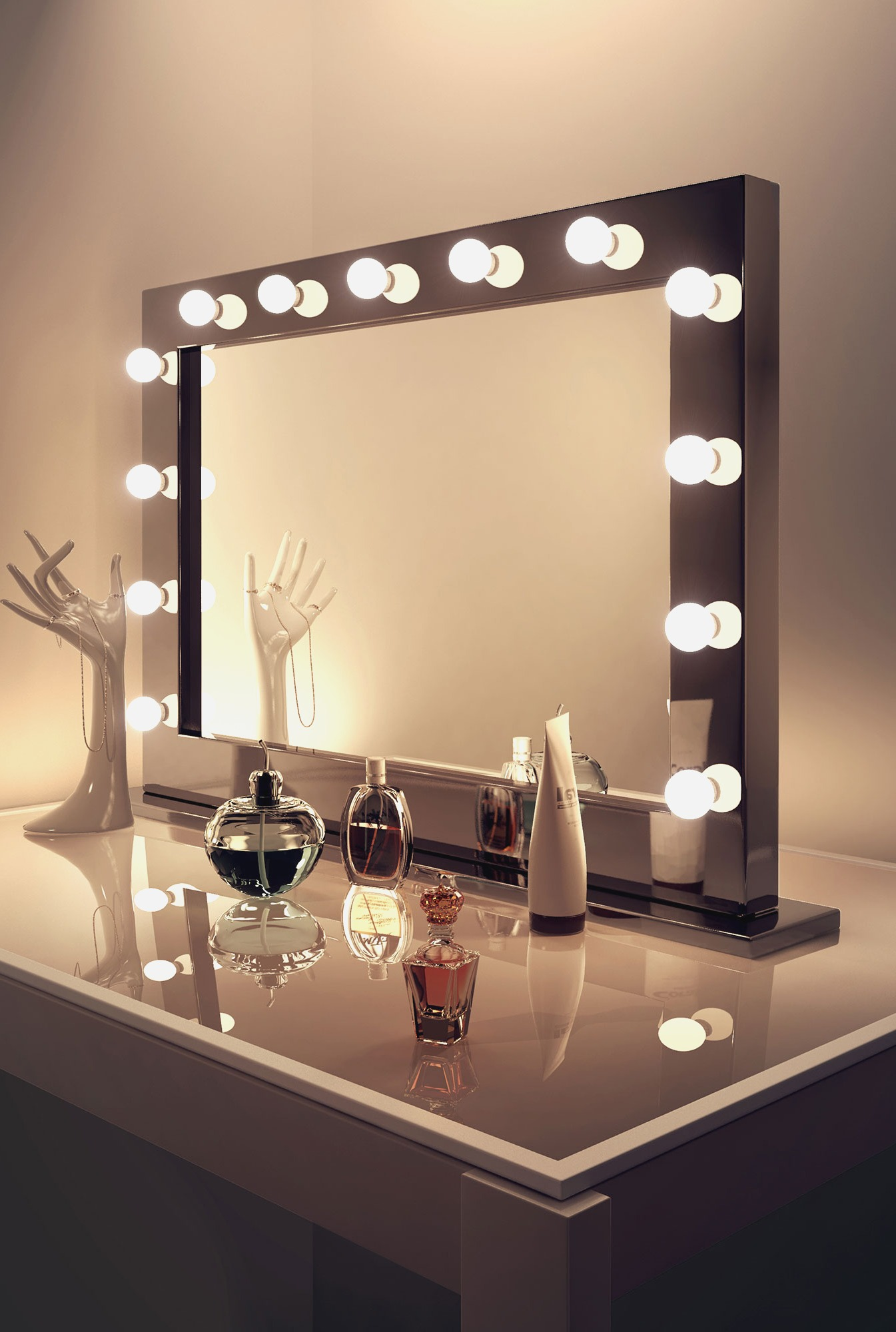Makeup Vanity with Lighted Mirror | Light Up Makeup Vanity | Hollywood Vanity Mirror with Lights