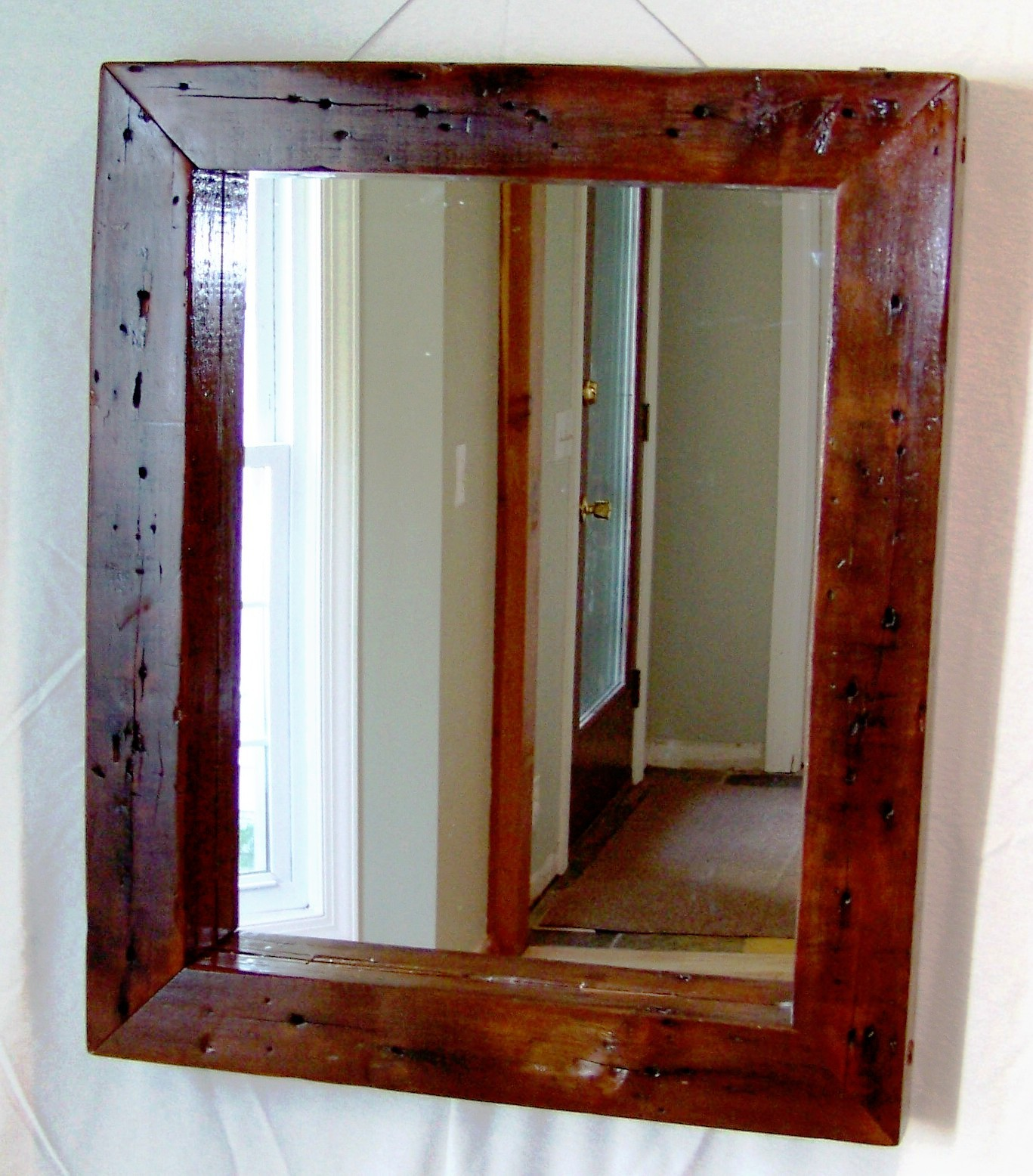 Mirror Reclaimed Wood | Round Metal Mirrors for Walls | Reclaimed Wood Mirror