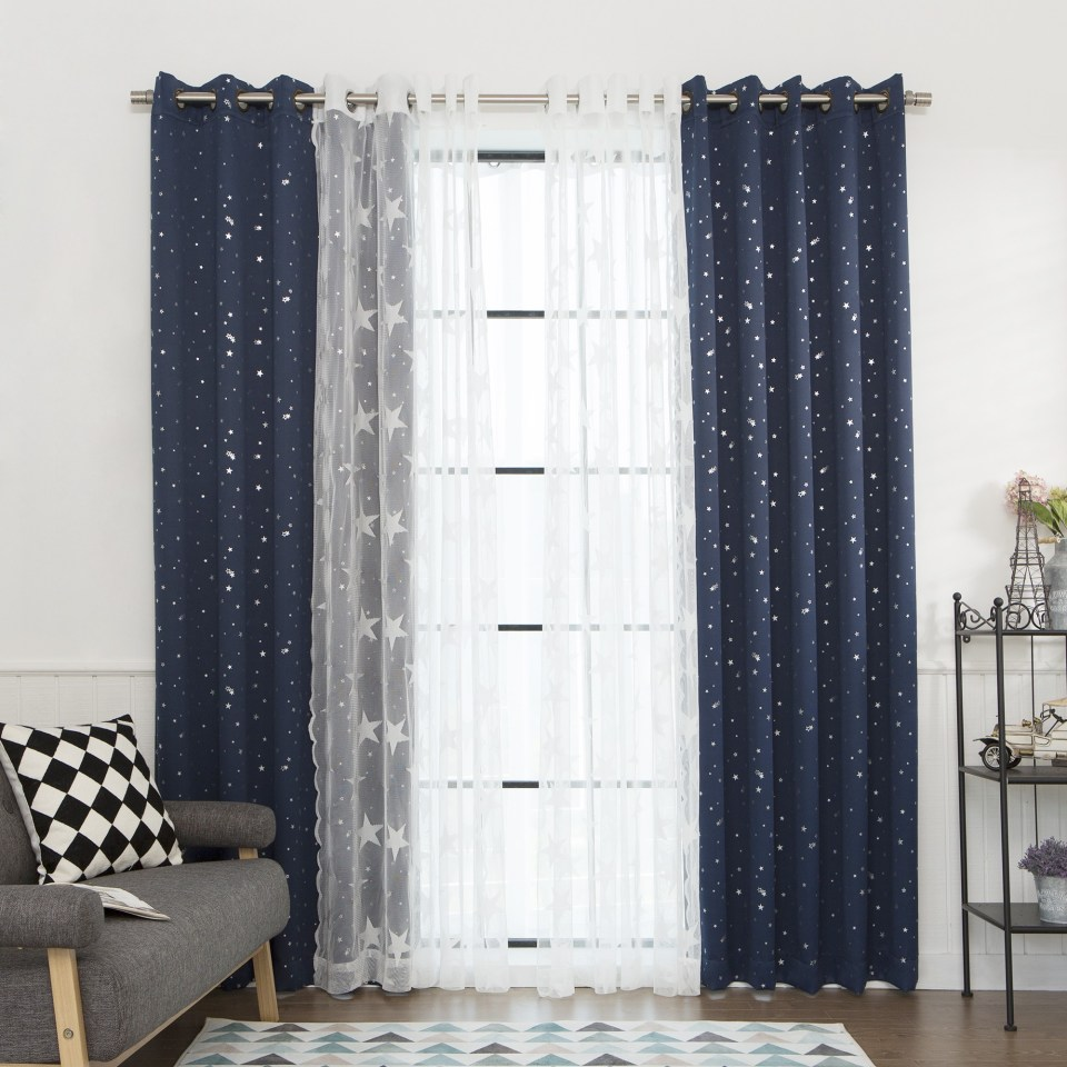 Navy and White Polka Dot Curtains | Ruffle Blackout Curtains | Blackout Curtains Childrens Bedroom