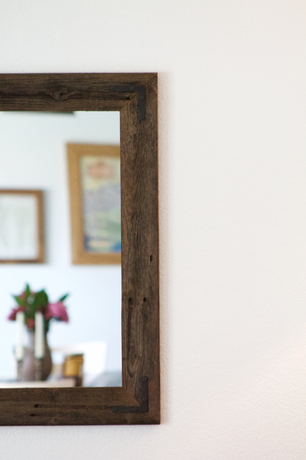 Oak Framed Bathroom Mirror | Reclaimed Wood Mirror | Circle Mirror Wall Decor
