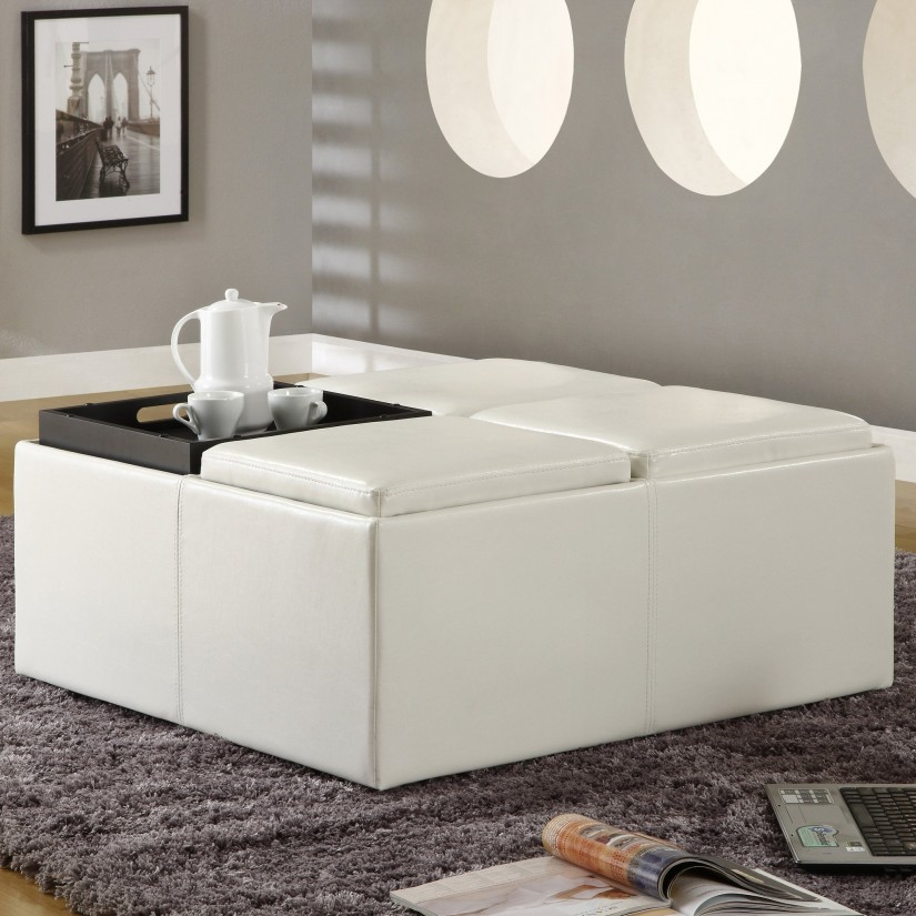 Ottoman Cocktail Table | Large Ottoman Coffee Table | Coffee Table Ottoman Combination