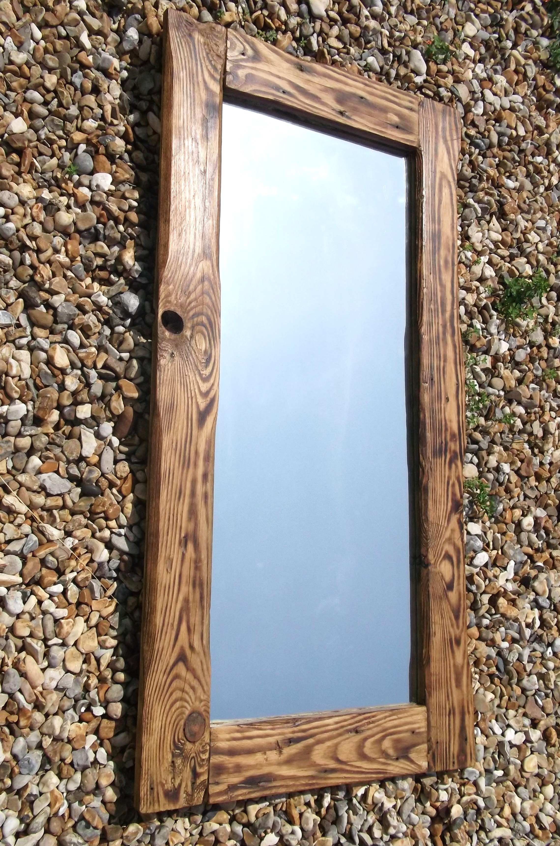Oval Mirrors with Wood Frames | Reclaimed Wood Mirror | Wrought Iron Bathroom Mirrors