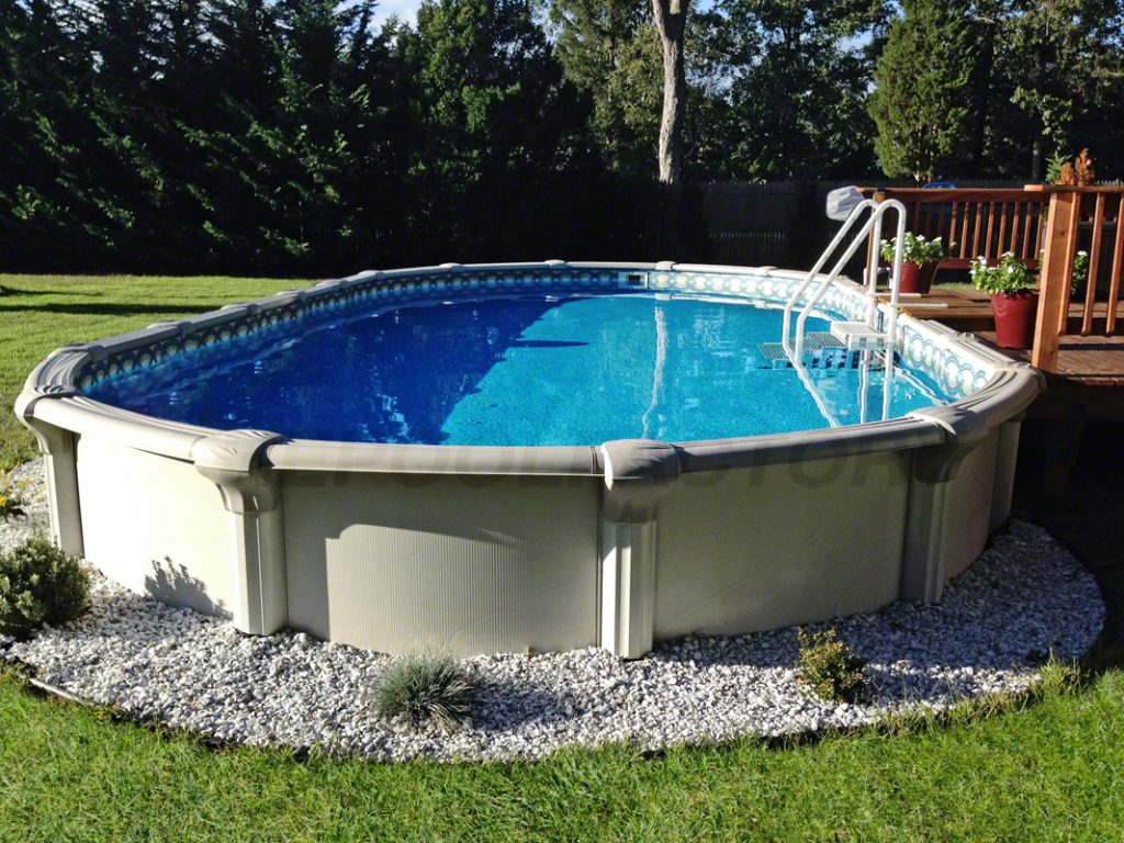 Oval Pool Decks | Semi Inground Pool Ideas | Above Ground Pools Tulsa