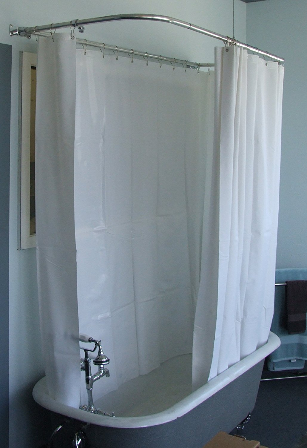 Oval Shower Curtain Rod for Clawfoot Tub | Clawfoot Tub Shower Curtain | Circular Shower Curtain