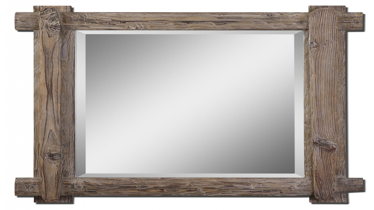 Oversized Wall Mirror | Reclaimed Wood Mirror | Circle Mirror Wall Decor