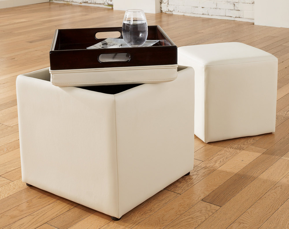 Padded Ottoman Storage | Leather Storage Cube Ottoman | Storage Cube Ottoman