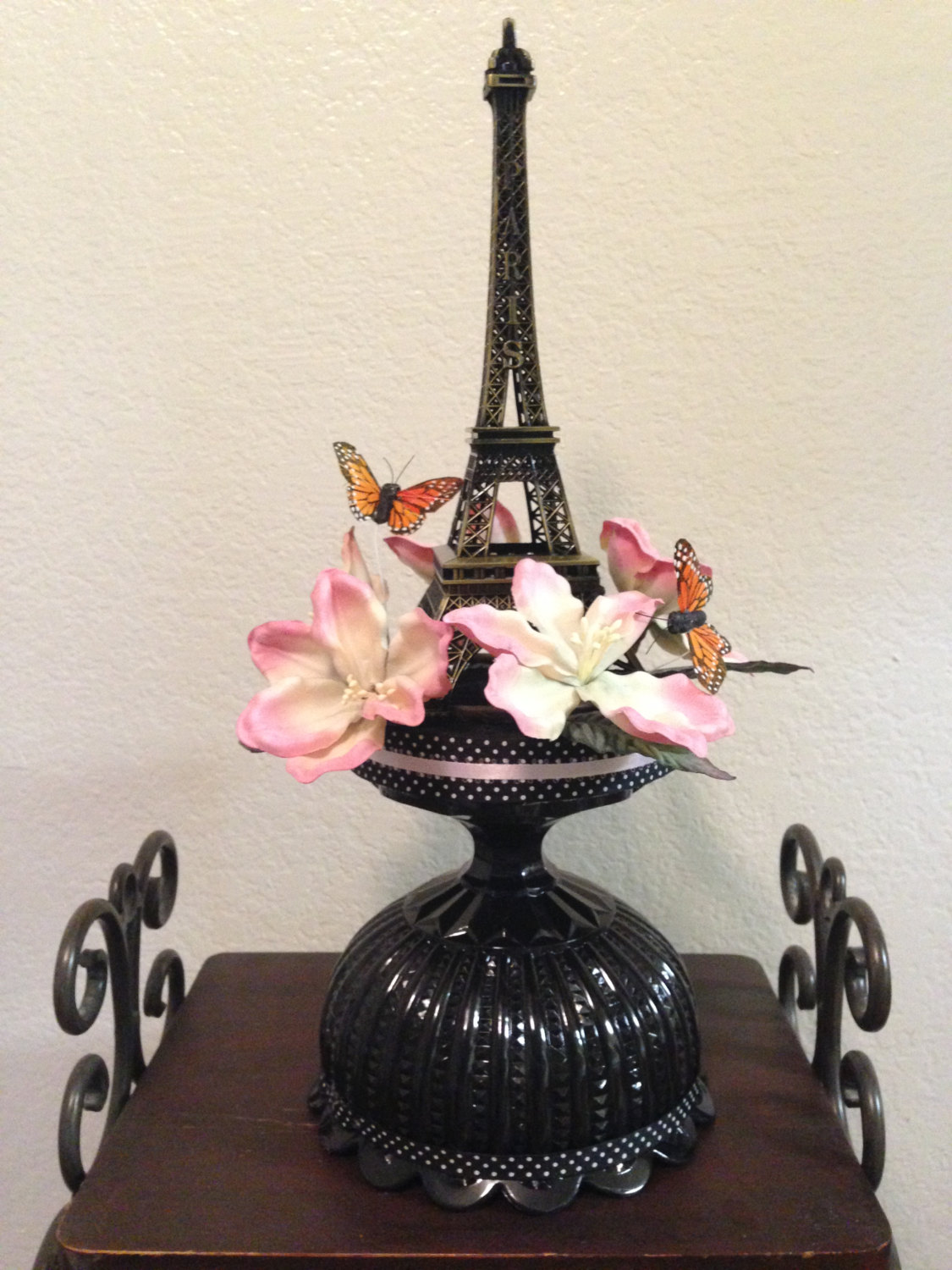Paris Themed Quinceanera Ideas | Crystal Eiffel Tower Statue | Eiffel Tower Centerpieces